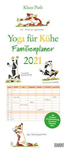 Yoga für Kühe - Familienplaner 2021 - DuMont-Verlag - Familienkalender für 6 Personen - Wandkalender mit 6 Spalten - 21,5 cm x 48,8 cm - Küchenkalender