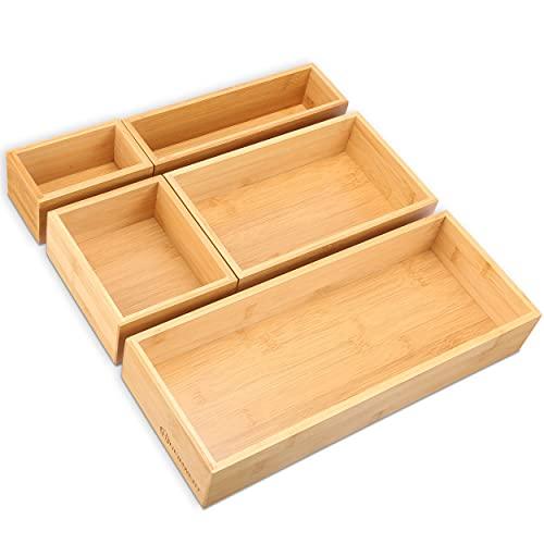 HEIMWERT Schubladen Organizer Aufbewahrungsboxen Ordnungssystem - 5 Einzelboxen perfekt kombinierbar - Schublade Aufbewahrung für Küche und Schreibtischschublade Aufbewahrungsbox Box Set klein