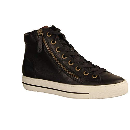 Paul Green Damen Super Soft Hightop-Sneaker, Frauen sportlicher Schnürer, Women Woman Freizeit leger Halbschuh schnürschuh,Schwarz,7 UK / 40.5 EU
