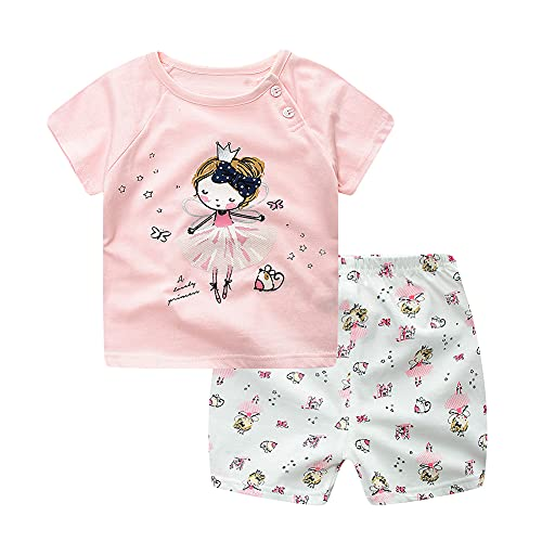 Niño Bebé Niñas Lion Lion Car Princess Historieta Imprimir Mangas Cortas Camiseta Tops + Pantalones Trajes Casuales de Verano 2pcs