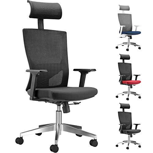 WeValley Chaise de Bureau Ergonomique, Fauteuil de Pivotant en Maille Avoir Soutien Lombaire et Accoudoir Réglable, Capacité Maximal de 180 KG Noir