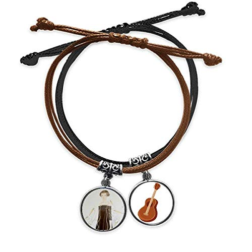 Beauty Egrets Chinese Style Watercolor Bracelet Rope Hand Chain Leather Guitar Wristband