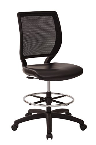 Office Star Deluxe Woven Mesh Back Armless Drafting Chair with Padded Vinyl Seat and Adjustable Footring, Black