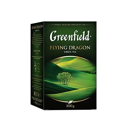 GREENFIELD FLYING DRAGON | Grüner Tee | Grüne Teeblätter | 100% reiner grüner Tee | Pure Green Tea | Lose 200g | Koscher | Glutenfrei