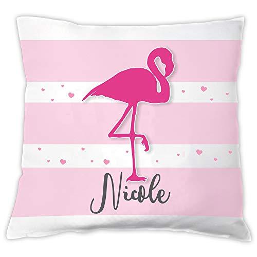 Kissen mit Flamingo Motiv - personalisiert mit Namen - Dekokissen - Zierkissen - weiß/pink - für Mädchen & Frauen