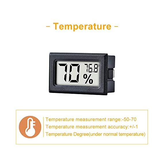 12 Pack Mini Small Digital Electronic Temperature Humidity Meters Gauge Indoor Thermometer Hygrometer LCD Display… 2 Mini Digital Humidity Thermometer allows you to easily know the environment temperature and humidity around you 2in1 meter with built-in probe; digital electronic thermometer and hygrometer for measuring temperature and humidity for indoor use Fahrenheit (°F) display, this thermometer displays temperature in Fahrenheit
