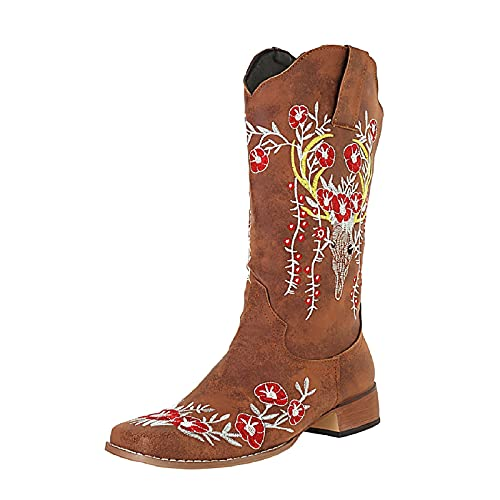 DKBL Boots for Women Fashion Low Heel Ankle Boots Autumn and Winter High Tube Boots Retro Embroidered Western Boots Brown