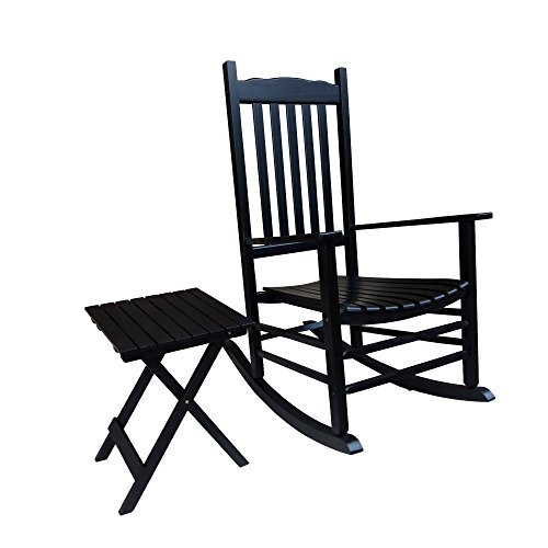 Rocking Rocker - S001BK Black Porch Rocker with Side Table - Set of 2 pcs Good Price!!!