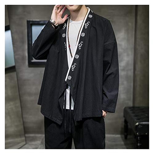 VIAIA Kimono Cardigan Hombres Abrigo Japons Yukata Hombre Haori Japons Samurai Bordado Camisa Suelta Algodn Ropa de Algodn Hanfu China (Color : Negro, Size : 5XL)