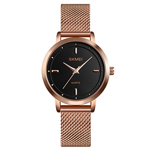 CakCity Simple Womens Watches Analog Quartz Watches for Women Fashion Casual Ladies Wrist Watch with Stainless Steel Mesh Band Waterproof Elegant Dress Watch