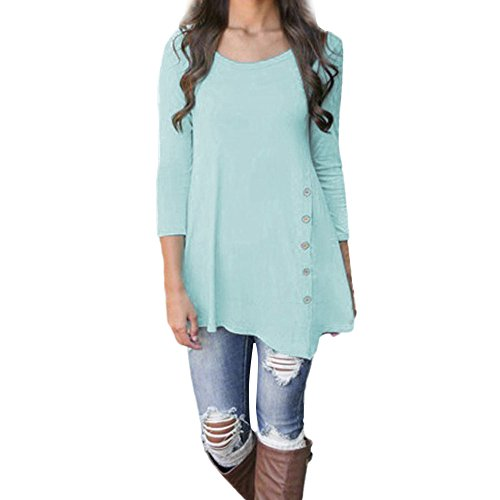 iLH Lightning Deals Tunic Top,ZYooh Women 3/4 Sleeve Loose Button Trim Blouse Solid Color Round Neck Blouse T-Shirt (Blue, S)