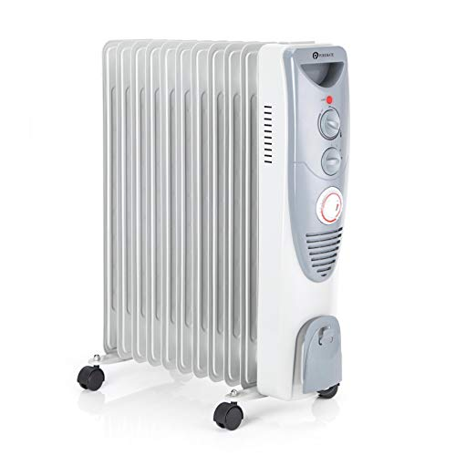 PureMate Radiateur à Bain d'huile 2500 W, 11 colonnes - Chauffage électrique Portable - Minuterie intégrée, 3 réglages de Chaleur, Thermostat et Coupure de sécurité