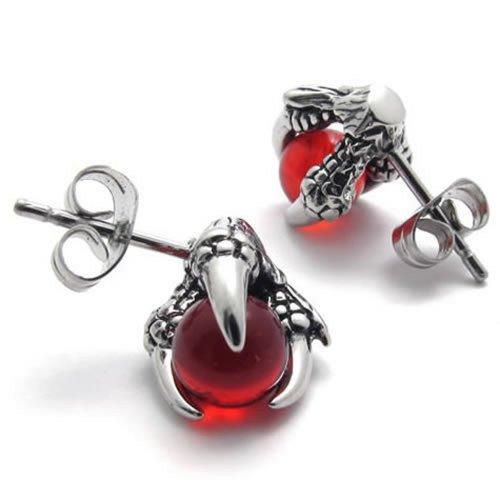 KONOV Vintage Stainless Steel Dragon Claw Men's Stud Earrings Set, 2pcs, Color Silver Red
