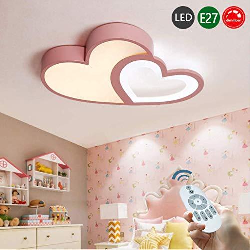 LED Deckenlampe Kreative Modern Romantisch Designer Deckenleuchte Kinderzimmer Lampe Herzform Acryl Deko Licht Mädchen Junge Deckenlicht Dimmbar Mit Fernbedienung Schlafzimmer Hausleuchten Lampe,Rosa