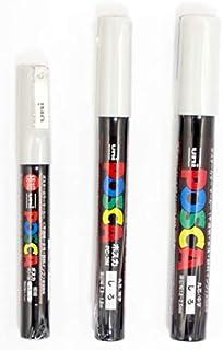 uni POSCA White = 3 Different Point Sizes per Pack: PC-1M(0.7 mm), 3M(0.9~1.3 mm), 5M(1.8~2.5 mm)