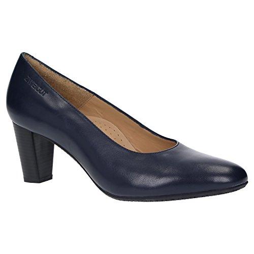 Zweigut® smuck #214 Achtung GRÖßENWANDEL Damen Leder Pumps Nappaleder Sommer Business Schuhe Komfort Laufsohle, Schuhgröße:36, Farbe:Nachtblau