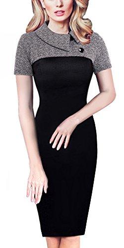 HOMEYEE Damen Vintage Langarm Elegant Kleid Business Party Cocktailkleid Knielanges Abendkleid B238...