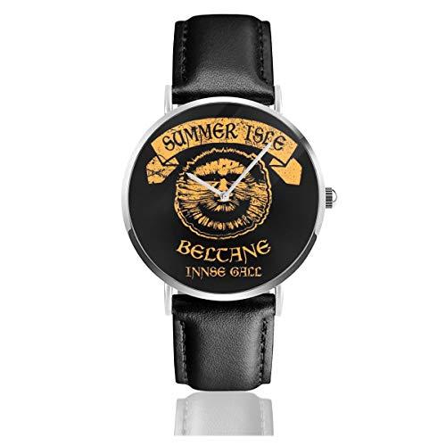 Reloj de Pulsera Unisex para Negocios, Casual, de Mimbre, con Correa de Piel Negra, para Hombre y Mujer