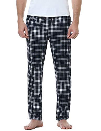Aiboria Pajama Pant Hombre,Pantalón Largos de Pijama Suelto de Hombre 100% algodón, Pantalón de Pijama Caballero, Entretiempo, clásico,Cuadros