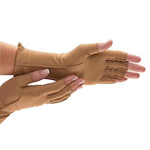 isotoner Therapeutic Gloves, Pair, Open Finger, Large