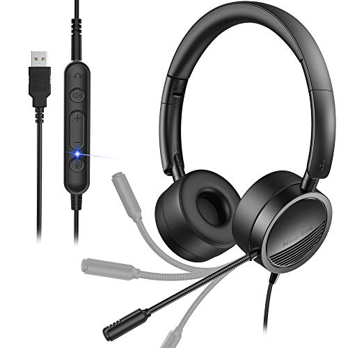USB Headset with Micphone New bee in-Line Call Controls Noise Cancelling Computer Headset Office Headset Call Center Headset for Skype, Zoom, Laptop, Phone, PC, Tablet, Home
