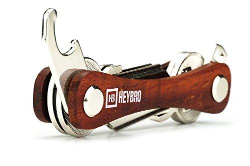 Premium Holz Schlüssel Organizer von HEYBRO optimale Schlüsselaufbewahrung in edelem Design hochwertiger Key Organizer mit praktischem Flaschenöffner und Öse (2-10 Schlüssel) (S)