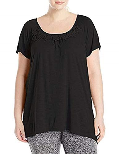 Just My Size Women's Plus-Size Slub Crochet Trim Tunic, Black, 3X