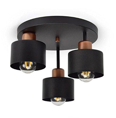 Deckenlampe Schwarz Kupfer Vintage Retro Design Skandi Deckenleuchte 3 flammig E27 Lampe für Wohnzimmer Schlafzimmer Esszimmer 382-E3