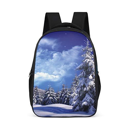 Fantasy Schnee Winterbäume Himmel Landschaft Mädchens Jungen Rucksäcke Gedruckt 3D Charmant Schulrucksack Schulrucksack Kinderrucksäcke Passt Für Kind Bright Gray OneSize
