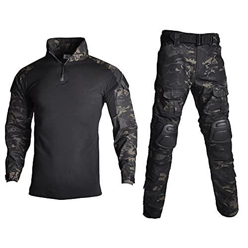 Lilychan Costumes Militaires Tactiques pour Hommes Uniformes Anti-déchirures à Manches Longues Chemise et Pantalon de Combat Genouillères (CP-Noir, XL)