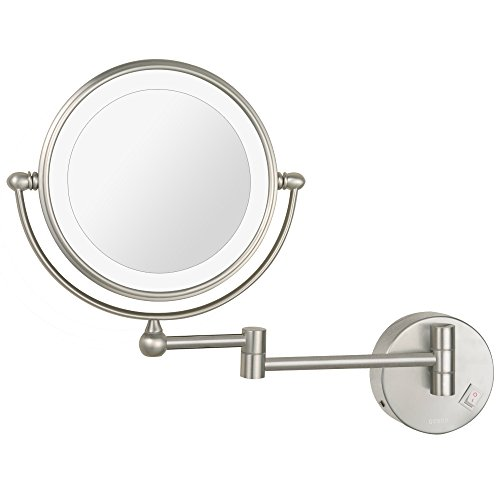 DOWRY 8 Inch Wall Mounted Vanity Makeup Mirror with LED Lighted,Two-Sided 10X -