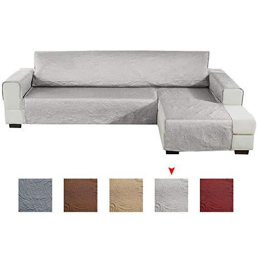 Relax love Funda de Sofa Impermeable Chaise Longue Antideslizante 240 * 270cm,Funda Cubre Sofá para Mascotas,Protector de sofá (Gris Claro, Brazo Derecho)