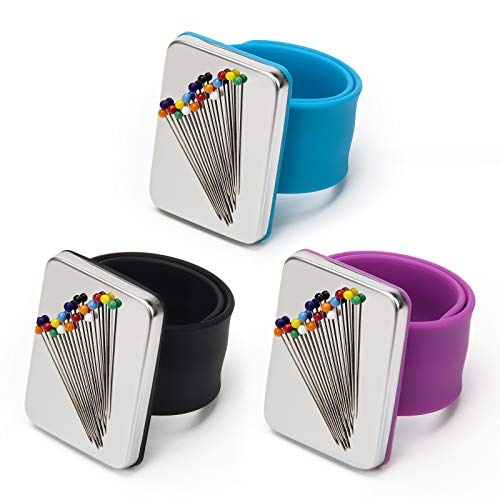 Coitak 3 PCS Magnetic Pin Holder Wrist Band, Magnetic Wrist Sewing Pincushion with Wristband for Sewing