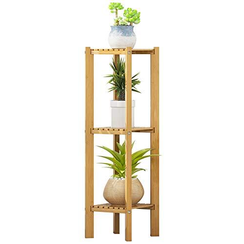 Soporte de flores de planta de jardín Librería de 3 niveles, estante de almacenamiento, estante de la esquina de soporte de planta, for oficina en casa, muebles de acento de aspecto de bambú Muchas pl