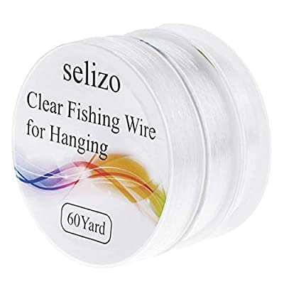 Selizo Fishing Wire, 3 Rolls Clear Fishing Line Jewelry String Invisible Nylon Thread Cord for Hanging Decorations, Beading and Crafts (3 sizes, 60 Yards per Roll)