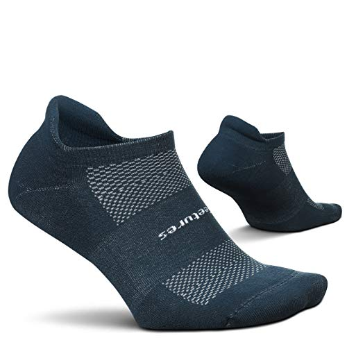 Feetures High Performance Cushion No Show Tab Solid- Running Socks for Men & Women, Athletic Ankle Socks, Moisture Wicking- Medium, French Navy