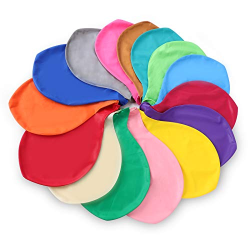 Herefun 15pcs Gigante Globos de Colores, Globos Latex Grandes 15 Colores, Globos para Bodas Grandes, Globos de Látex Multicolores para Fiesta Bodas Navidad Celebraciones