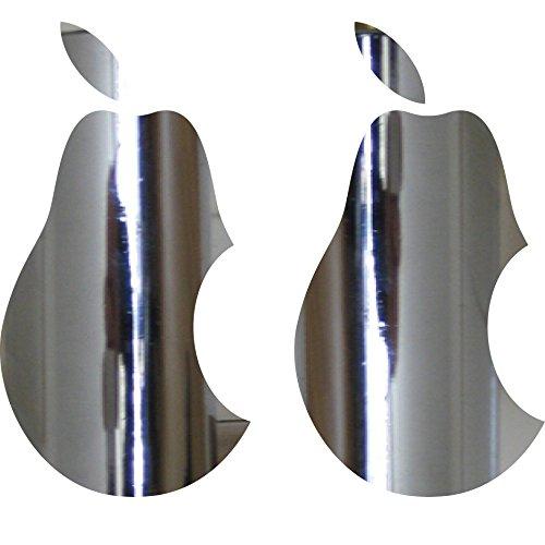 2 Stück 10cm Birne mit Biss Apple Verarsche Handy Tablet Notebook Laptop Aufkleber Tattoo die cut Deko Folie (chrom)