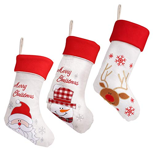 MORFONG Juego de 3 calcetines navideños de 50 cm, saco de Papá Noel para rellenar, decoración navideña