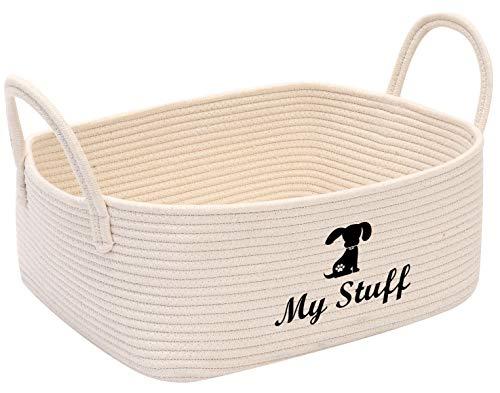 Hundespielzeugkorb aus Baumwollseil mit Griff, Spielzeug-Aufbewahrung, Haustier-Spielzeug-Box, perfekt für die Organisation von kleinen Hunden