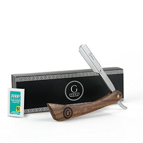 Gadova® Premium Rasiermesser inkl. 10 Derby Wechselklingen aus rostfreiem Edelstahl I Edles Echt Holzgriff Bartmesser für Herren I Barber-Qualität inkl. Einsteiger Anleitung für die perfekte Rasur
