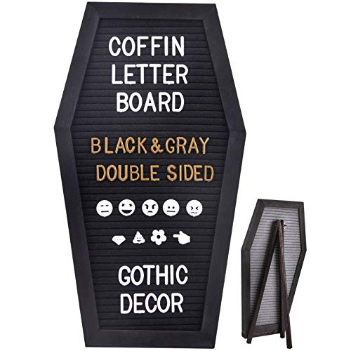 SOLEJAZZ Felt Letter Board Coffin Board with 730 Precut White & Gold Letters, Numbers, Symbols, Emojis, Rustic Wood Frame, for Halloween, Wall & Tabletop Display, Black