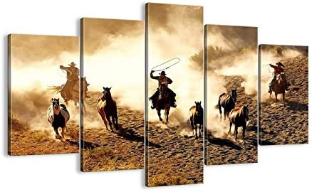 5 Piece Vintage Abstract Horses Running in the Desert Painting Retro Canvas Cowboy Wall Art product image