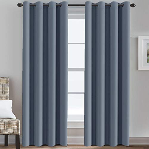 Grommet Bedroom Curtain Thermal Insualted Room Darkening Curtain for Living Room Window Treatment Long Curtain for Patio Door, Christmas Holiday Window Curtain (1 Panel, Stone Blue, 52' W x 96' L)