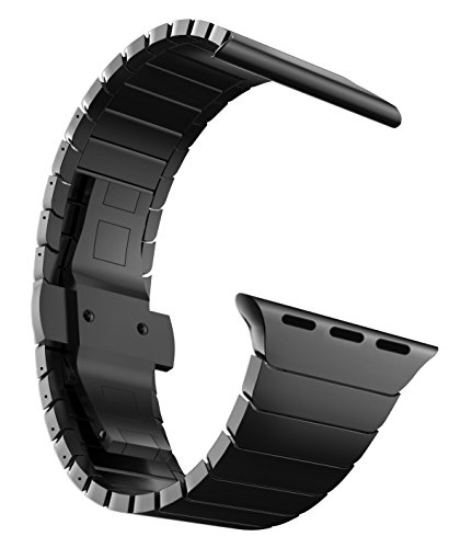 MaKTech Correa de Eslabones de Acero Inoxidable Metal Pulsera Brazalete Compatible con Apple Watch Serie 5/4/3/2/1 (44mm/42mm,Negro)