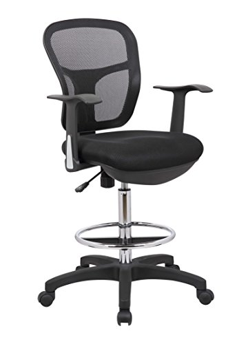 Office Factor Drafting Chair with Foot Ring, Mesh Back Drafting Clerk Stool, Adjustable Height, Removable Arms Swivel Chair for Office and Home