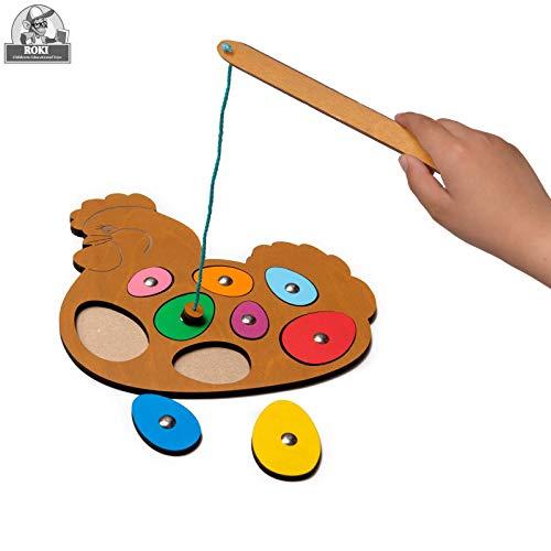 ROKI TOYS Magnetisches Angelspiel aus Holz, Premium Qualitäts Magnetpuzzle / Magnetspiel für Kinder / pädagogisches Lernspielzeug und Motorikspielzeug für Mädchen Jungen