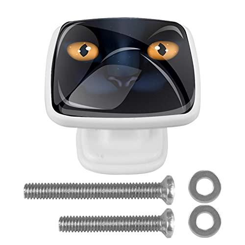 Creepy Halloween Cat-01Crystal - Manopole per cassettiere in vetro da 4,4 cm per cassettiera, con viti per armadio, casa, ufficio, credenza