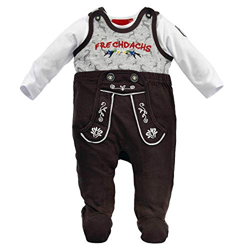 Alpenglück Baby-Strampler 'Frechdachs' aus Baumwolle Gr. 62 I Schöner Jungen-Strampler in Braun I Süße Baby Kleidung mit Frechdachs-Print, langärmlig I Strampelanzug aus Single-Jersey