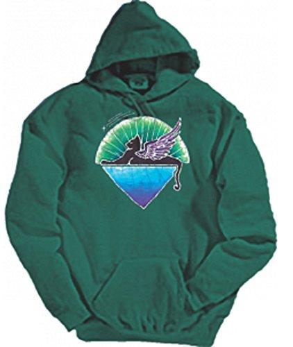 Grateful Dead Winged Cat Hooded Sweatshirt by Dye The Sky (XX-Large) Green